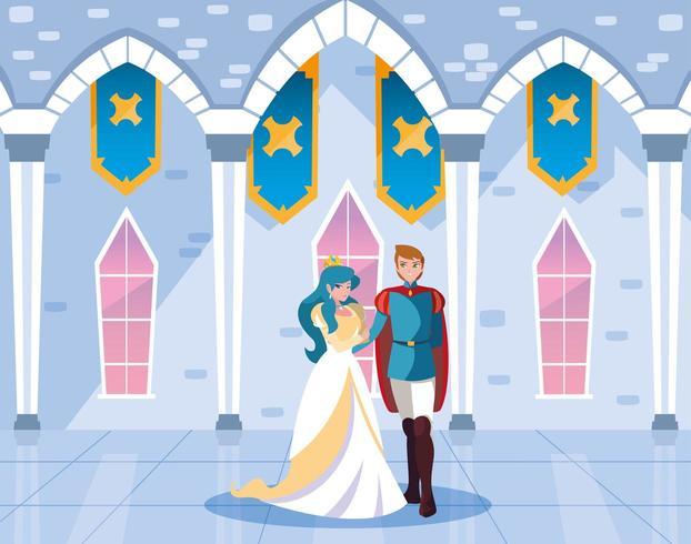 princesa e príncipe no conto de fadas do castelo vetor