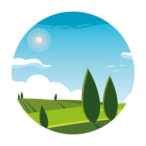 paisagem natureza cena no quadro circular vetor