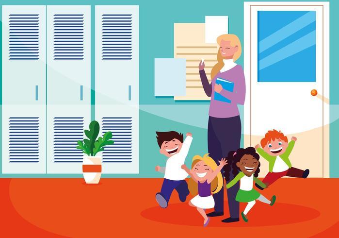professora com alunos na escola vetor