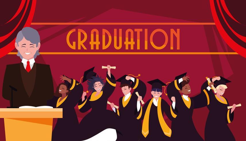 Alunos de graduação vetor