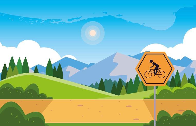 paisagem montanhosa com sinalização para ciclista vetor