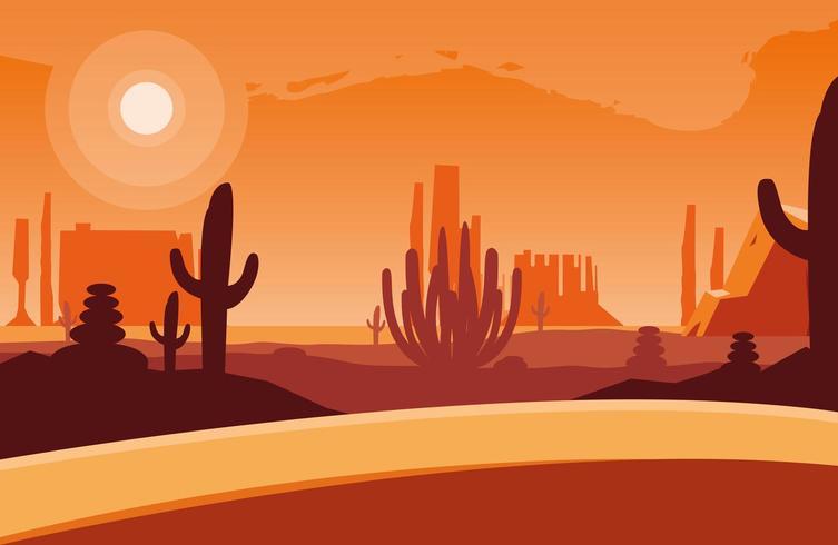 deserto na cena da paisagem por do sol vetor