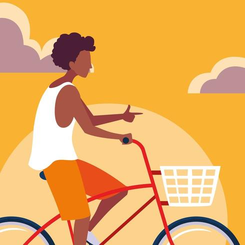 jovem, andar bicicleta, com, céu, laranja vetor
