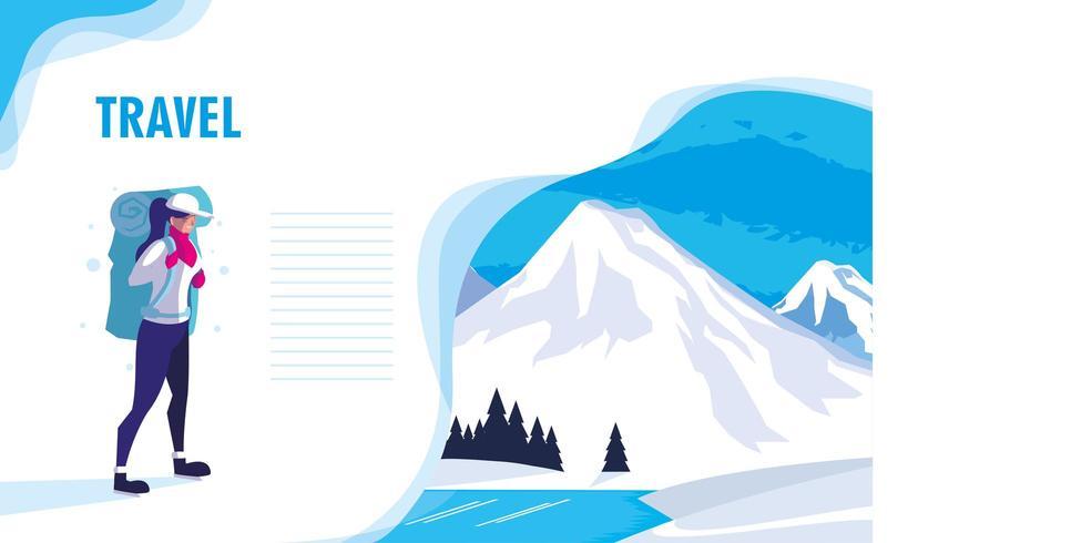 natureza snowscape com página web do viajante vetor