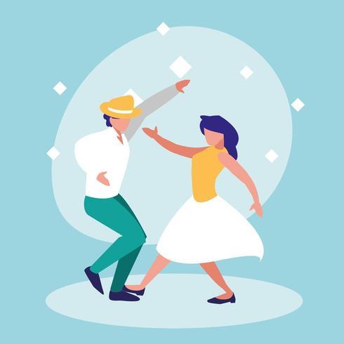 casal dançando na festa da discoteca vetor