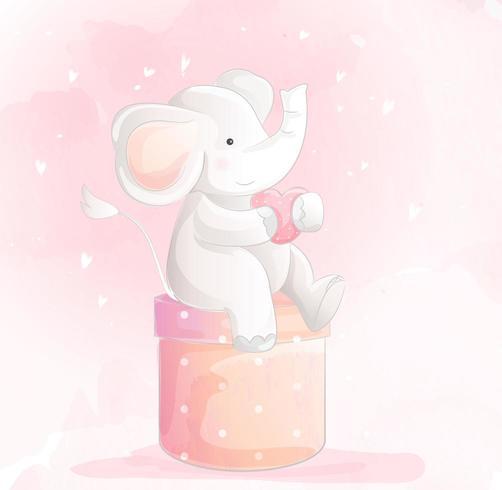 Estilo aquarela de bebê fofo elefante vetor