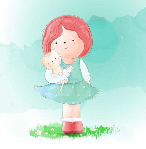 Linda garota com estilo aquarela de gato. Ilustração vetorial vetor