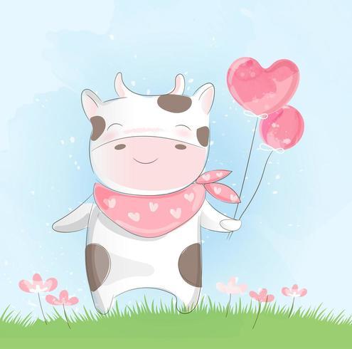 Vaca bebê fofo em aquarela vetor