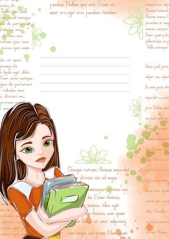 Modelo com aluna e livros vetor