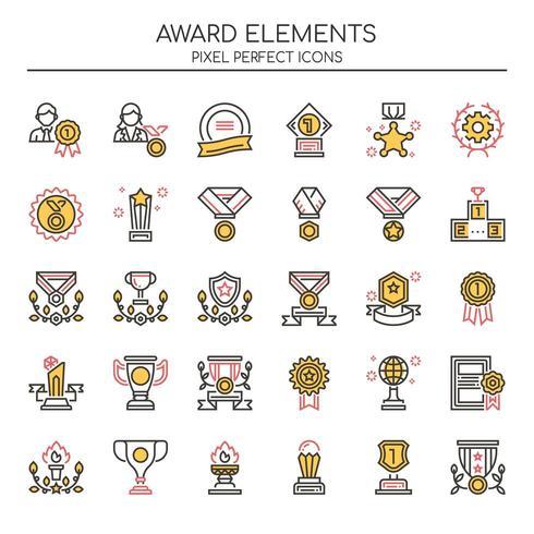 Conjunto de elementos de prêmio de linha fina Duotone vetor