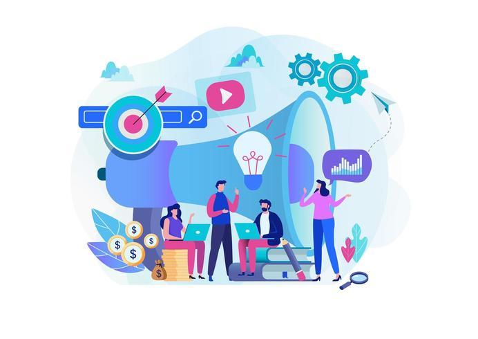 Equipe de estratégia de marketing digital com megafone grande em segundo plano e outros itens vetor