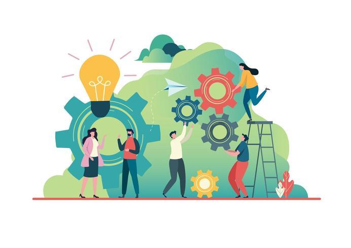 Pessoas criando idéias para o sucesso. Conceito de trabalho em equipe. vetor