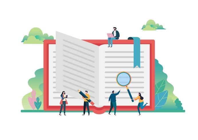 Conceito de imaginação de livros abertos. Dia Mundial do Livro, 23 de abril. vetor
