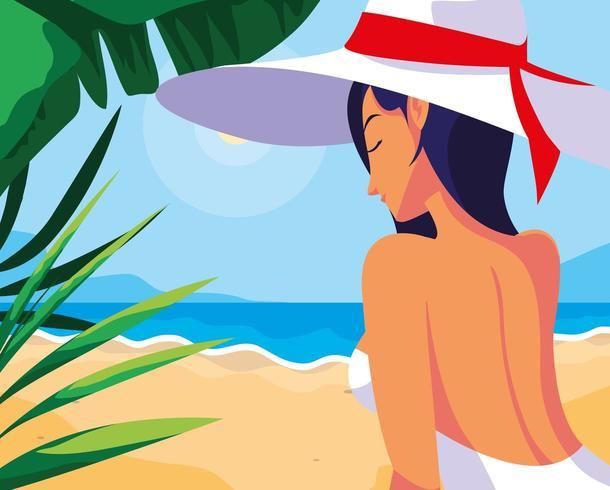mulher com maiô na praia vetor