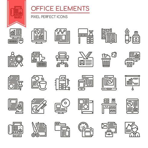 Conjunto de elementos de escritório de linha fina preto e branco vetor