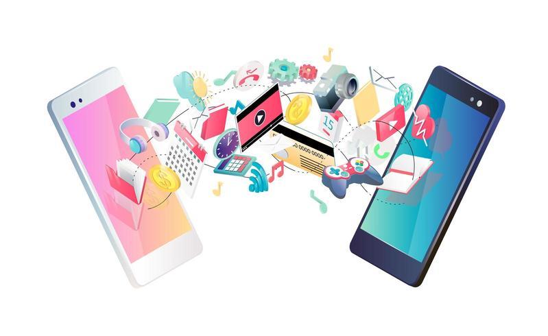 Conceito isométrico de troca entre smartphones. vetor