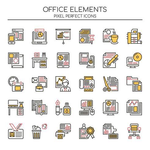 Conjunto de elementos de escritório de linha fina Duotone vetor