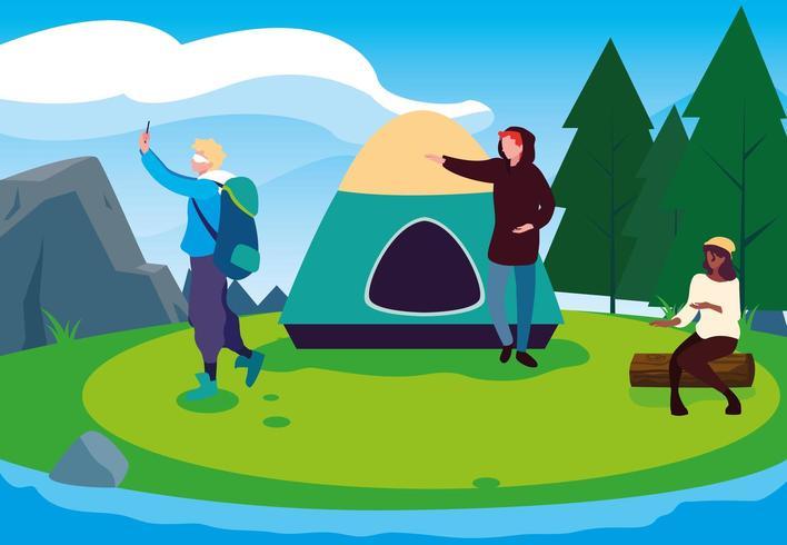 Viagem de acampamento com amigos vetor