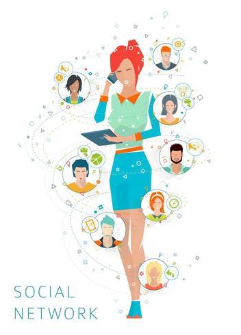 Mulher no telefone e tablet falando em rede com as pessoas vetor