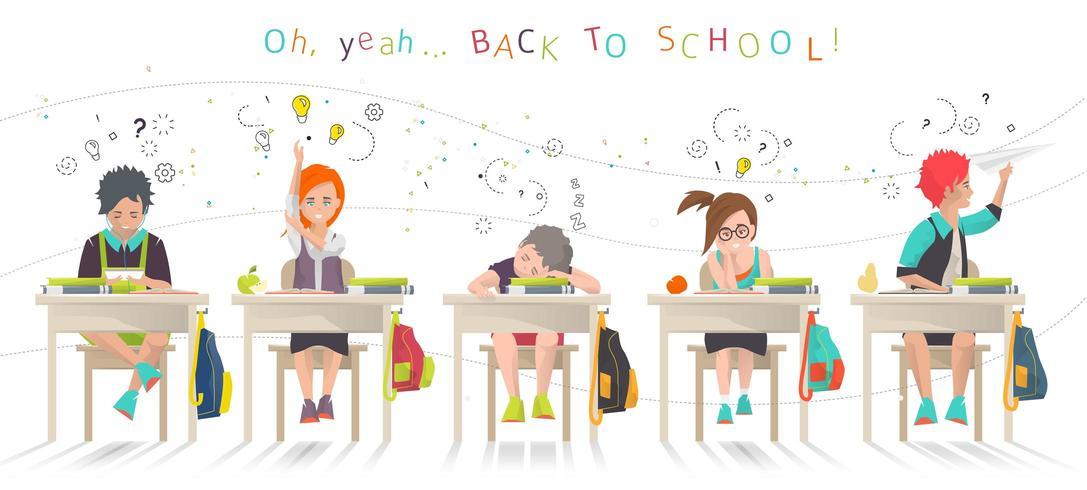 Crianças sentadas nas mesas na escola vetor