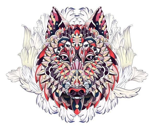 Modelado cabeça de lobo ou cachorro no fundo com folhas de acanto vetor