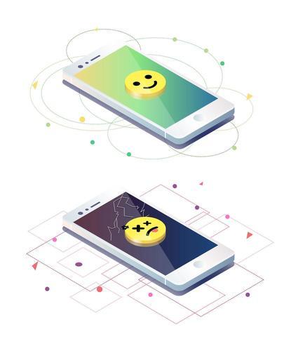 Um quebrado com emoji triste e um celular sem problemas com emoji sorridente vetor