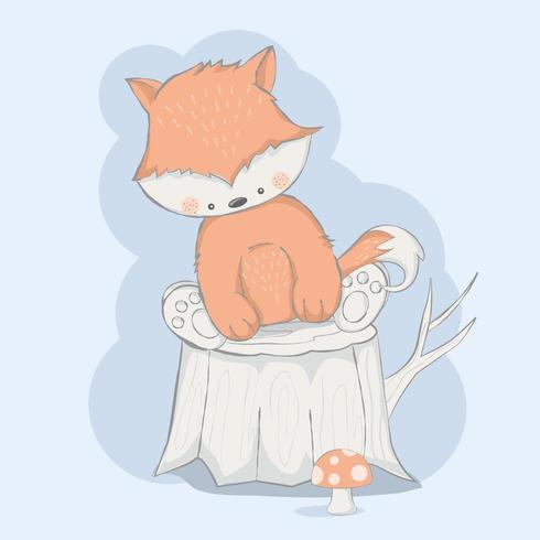 raposa bebê fofo com árvore vetor