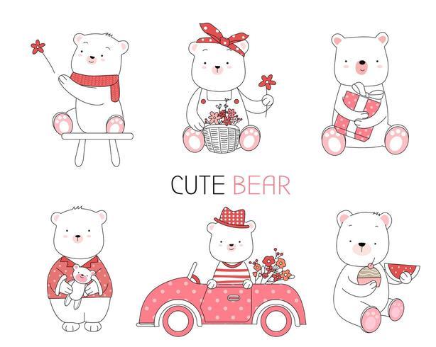 Bebê fofo urso mão estilo desenhado condução vetor