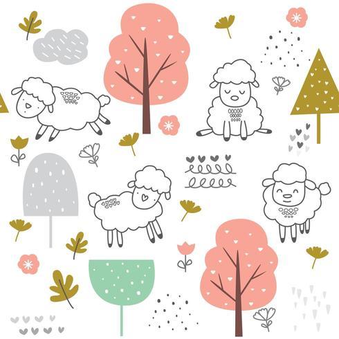 cartoon de ovelha bebê fofo - padrão sem emenda vetor