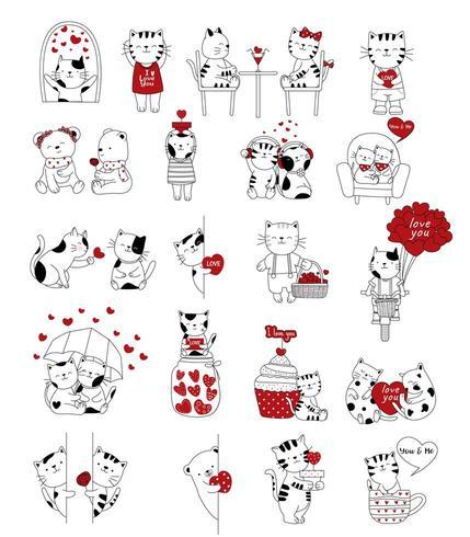Dia dos namorados cartoon mão desenhada estilo animais fofos vetor