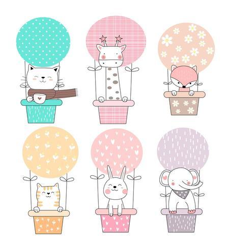 Animais bebê fofo em balões vetor