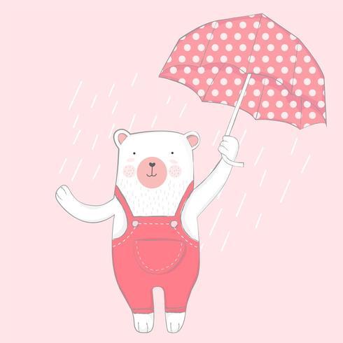 urso bebê fofo em um dia chuvoso vetor