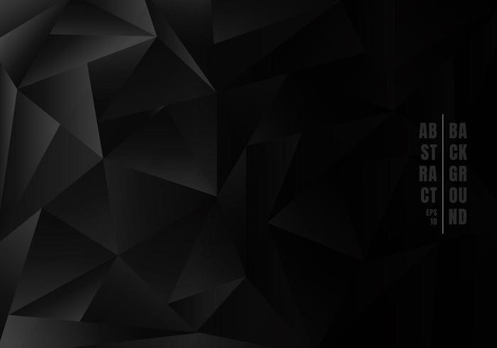 Resumo baixo polígono ou triângulos em fundo preto vetor