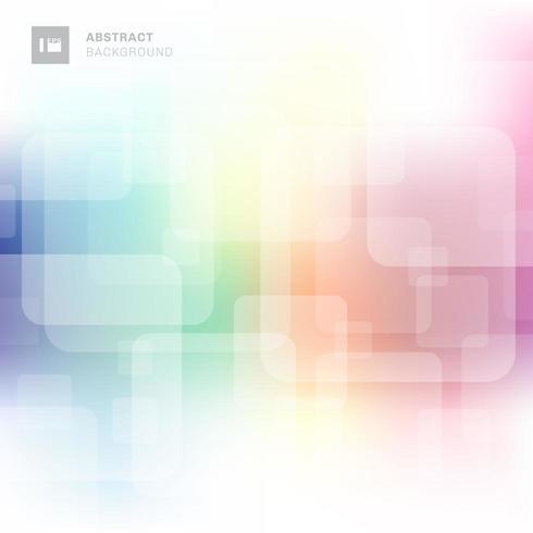 Sobreposição transparente quadrada abstrata com fundo desfocado colorido. vetor