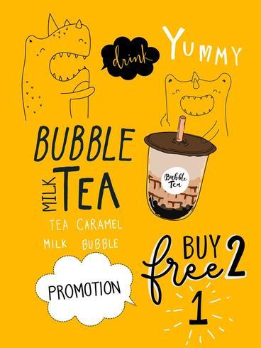 Chá da bolha Promoções especiais BOGO Design vetor