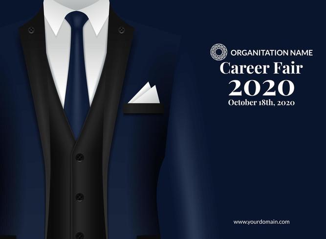 Cartaz de design de recrutamento de feira de carreira vetor