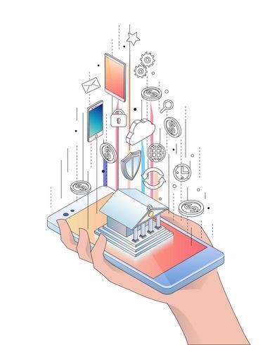 Isométrica mão segurando o smartphone com construção e ícones de banco móvel vetor