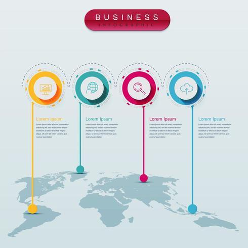 Infográfico de mapa do mundo com 4 etapas vetor