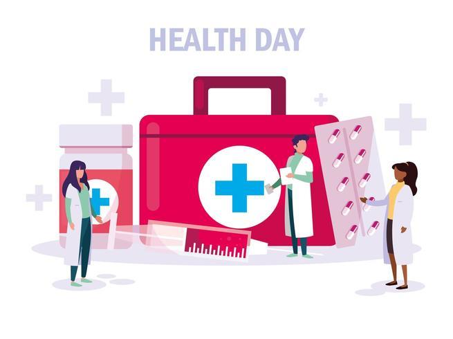 cartão do dia mundial da saúde com médicos vetor