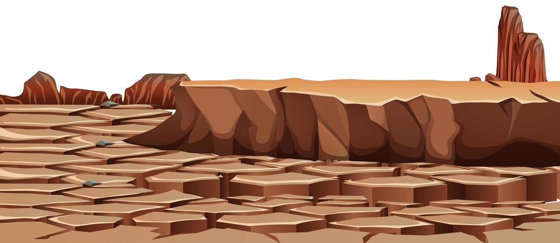 Paisagem do deserto rachado seca vetor