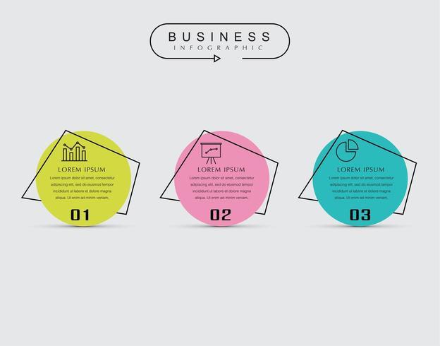 Modelo de infográfico de negócios mínimo de 3 etapas com ícones. vetor