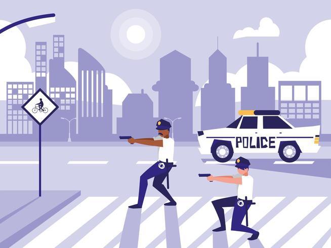 policiais com carro na rua rua vetor