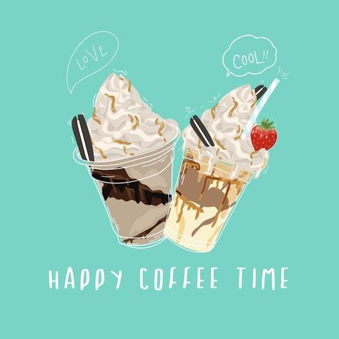 Feliz café tempo banner design com doce e cortado estilo doodle vetor