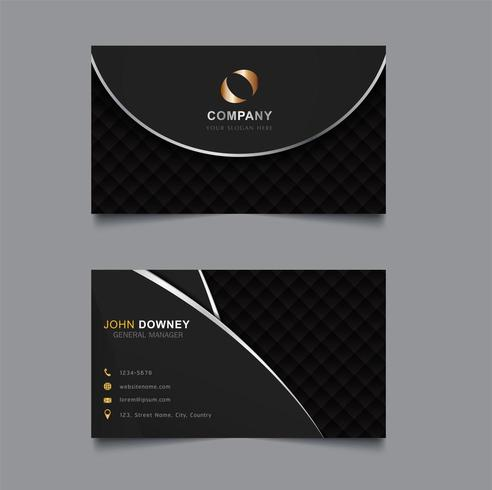 Cartão de visita com linhas de prata e diamante padrão vetor
