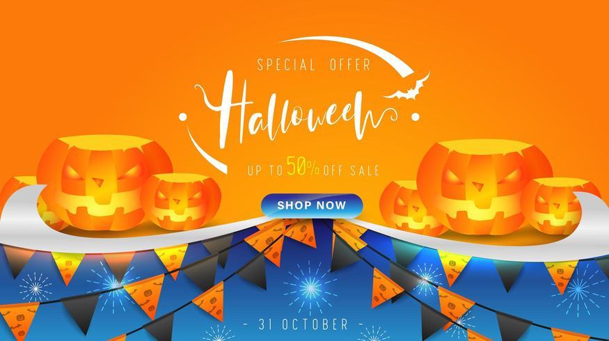 Feliz dia das bruxas dia banner fundo com abóboras, design de letras e elementos de Halloween vetor