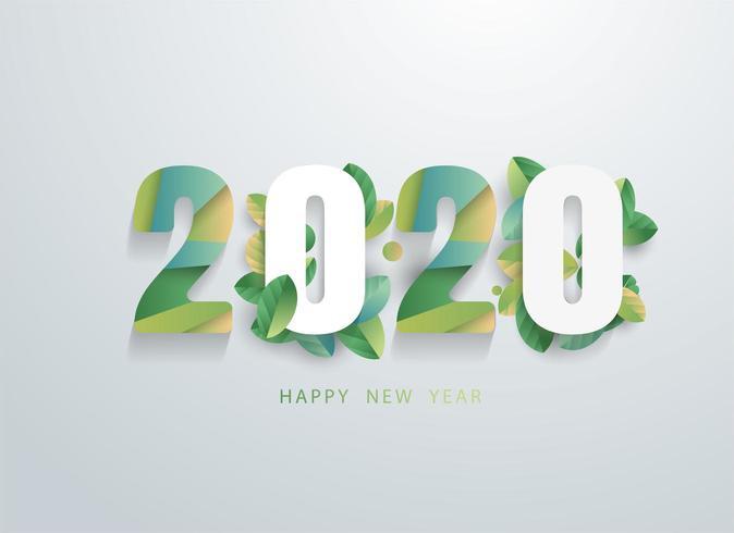 Feliz 2020 ano novo com banner de folhas verdes naturais. vetor