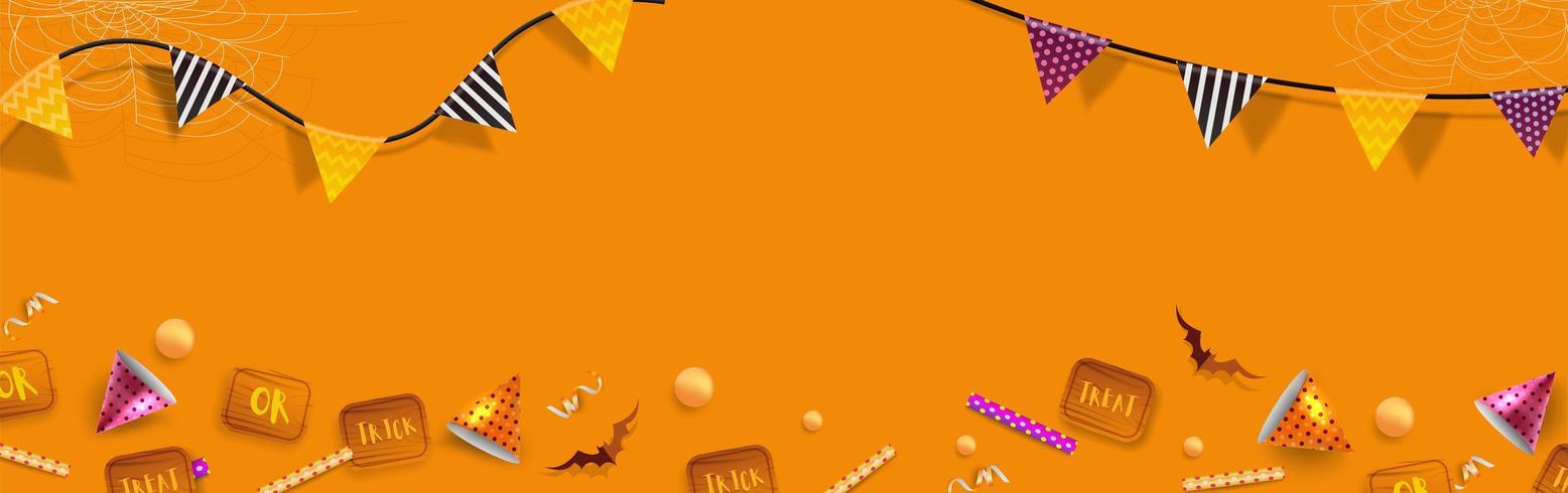 Banner de Halloween ou fundo com elementos de Halloween vetor