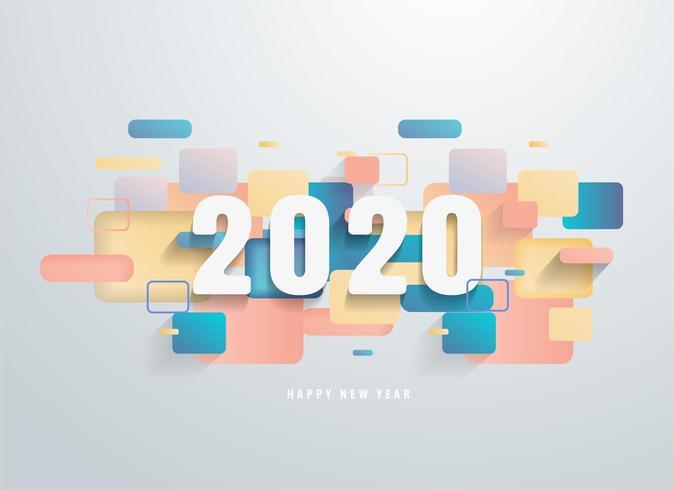 Feliz 2020 ano novo com banner de formas geométricas coloridas vetor