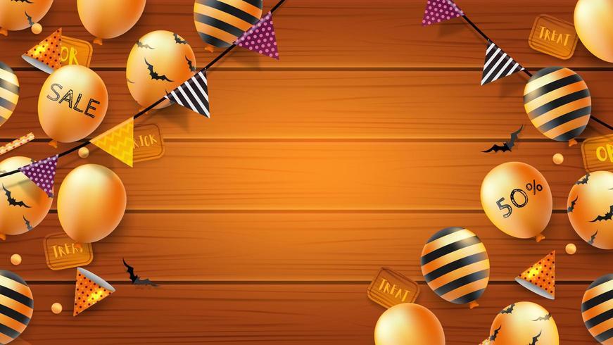 Banner de Halloween ou fundo com morcegos e balões em fundo de madeira vetor