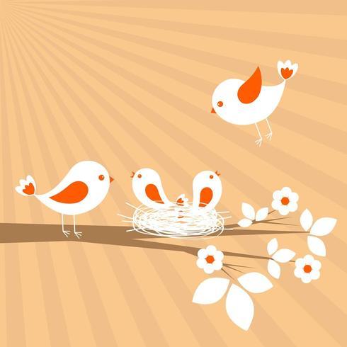 Família de pássaros. Cartão de vetor de primavera